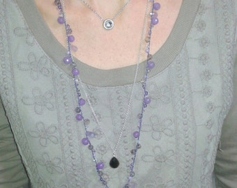 Medium length necklace, agate and Amethyst boho-chic code 41