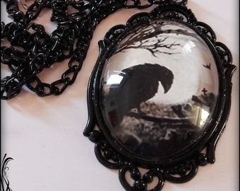 Large black gothic medallion with raven photo