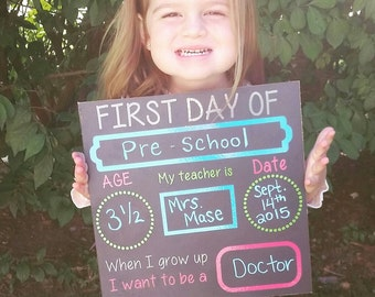 First day of school chalkboard, back to school sign, first day of school board, first day photo prop, 1st day of school sign