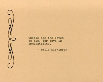 Emily Dickinson Quote Made on Typewriter Classic Book Quote Home Decor Wall Art Quote Art Quote Mixed Media Handmade Art Quote Wall Art