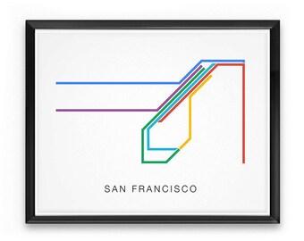San Francisco Muni Metro Map - SFMTA Transit Lines - SF Underground Subway at Market Street - Minimalist Poster Print, Vector Shape Line Art