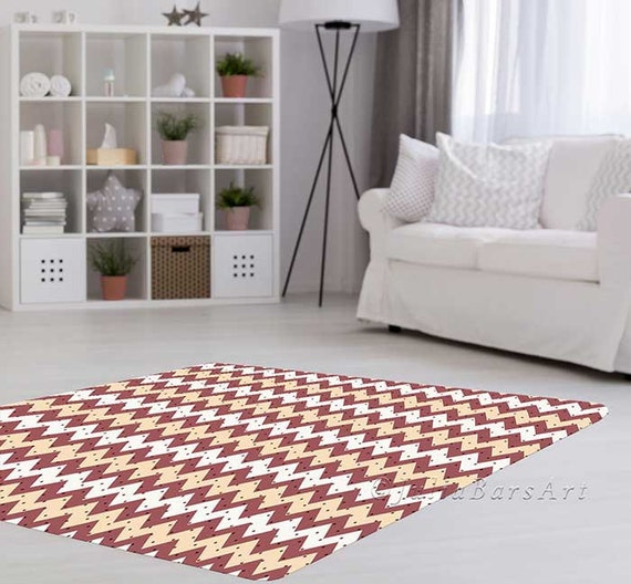 Modern rug area rug mauve cream polka dot chevron rug for Living room 4x5