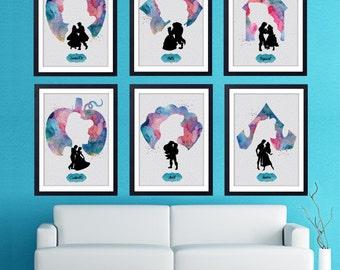 Disney Princess Minimalist Poster Set. Snow White, Belle, Rapunzel, Cinderella, Aurora, Ariel