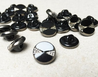 6 vintage glass buttons 11mm black / 0.43 inches 60s box5