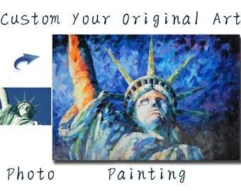 Custom oil painting-Original oil portrait painting-Palette knife Pet Portrait,family portrait,Landscape,House and etc