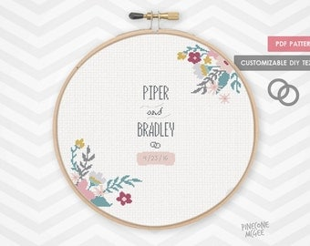FLORAL WEDDING RECORD counted cross stitch pattern, modern shower bride gift, diy bridal house warming, easy customize customise  epattern