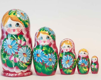 Nesting doll Deasies on Vinous Red / Flowers Russian matryoshka dolls - kod426p