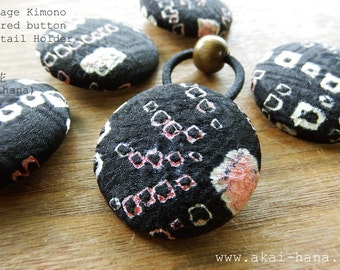 Vintage Kimono Covered Button Ponytail Holder, Shibori Black & Pink