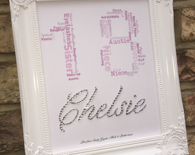Personalised Crystal Name/Number word Cloud Print | Wedding gift | Anniversary gift | Birthday gift | available in any colour