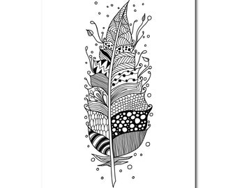 Zentangle Inspired Feather(1) Colouring Page, A4 PDF File, Print Your Own