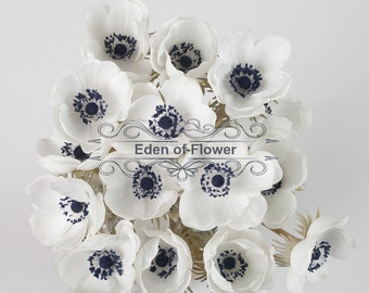 White Anemones Real Touch Flowers Dark Blue Center for Wedding Bridal Bouquets, Centerpieces, Decorative Flowers