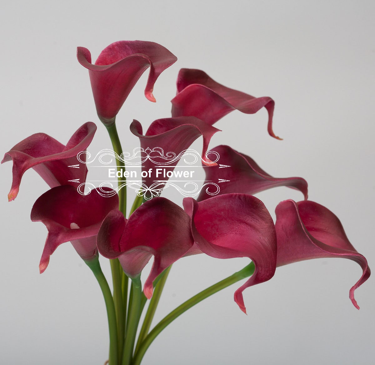 Wine Red Calla Lilies Real Touch Flowers for Bridal Bouquets