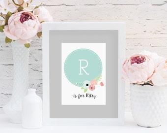 SALE!! // Personalized Nursery Print, Personalized Letter Print, Monogram Letter, Customized Nursery Art