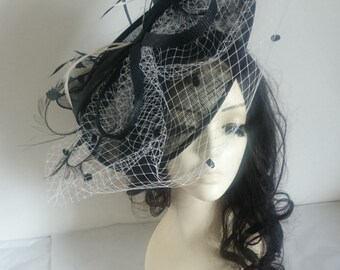 Black & White Disc Fascinator With Bow  Netting Weddings-Ascot-Ladies Day-Races