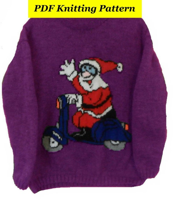 Knitting Sweater Design Book Pdf : Childrens adults christmas santa on bike jumper