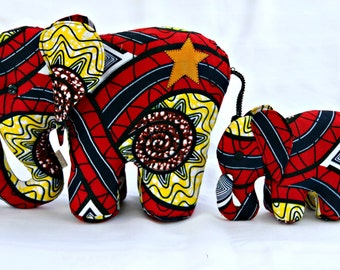 Handmade mama and baby elephants made from African waxed cotton fabric.