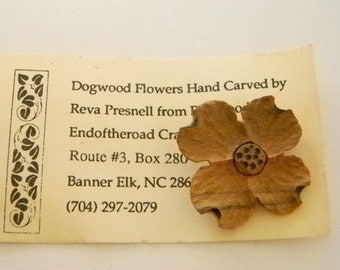 Wooden Hand Crafted Carved Dogwood Flower Floral Pin Brooch
