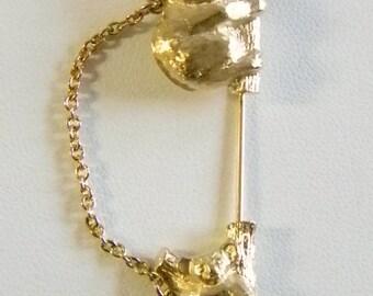 AVON Gold Tone Koala Bears Chain  Stick Pin Brooch