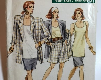 Vintage jacket, top, skirt and shorts pattern Very Easy Very Vogue 7230 Uncut Sizes 8, 10 and 12