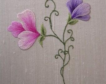 Silk-shaded Sweetpeas Embroidery Kit