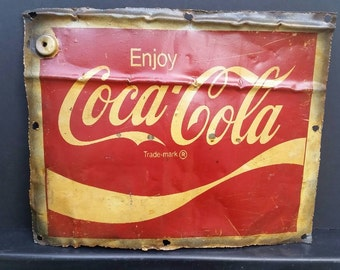 "COCA COLA metal sign, vintage style from old oil barrel 16""x 13"""