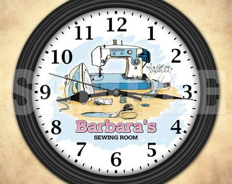 Sewing Machine Personalized Wall Clock - Sewing Room - Craft Room Decor - Quilt