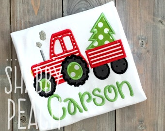 Christmas Tractor Applique Onesie or Shirt