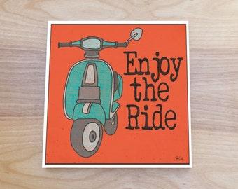 Retro Vespa art block print. Retro Vespa print. Vintage Vespa scooter poster. Retro vespa wall art. Retro art for home. Gift for biker