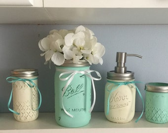 Mason jar bathroom set. Custom made for you with multiple color options