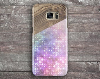 Samsung Galaxy S7 case - Geometric wood texture, Glitter, Bokeh