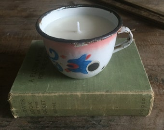 Rose Geranium Scented EO Vintage Small Enamel Cup Soy Candle