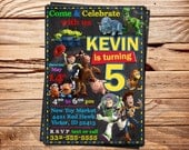 Disney Toy Story Invitation card, Birthday Party Ideas, Chalkboard Design / Style - Digital Files - for girls and boys