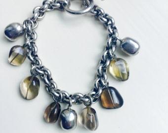 Sterling Silver and Smokey Quartz Charm Bracelet