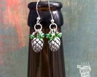 Beer Hop Earrings; Beer Earrings, Craft Beer Lover; Beer Jewelry, Hoppy, Hops, Gifts for Women, Crystals