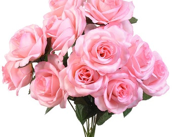 "New Silk Pink Rose Bush, 12 Pink Roses 3.5"" in diameter, Fake Pink Roses"
