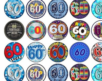 30 Assorted 60th Birthday Male/Female Premium Rice Paper Cup Cake Toppers