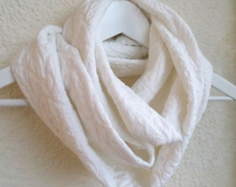 Infinity cotton scarf, White scarf, Infinity scarf, Loop scarf, Circle scarf, Jersey scarf