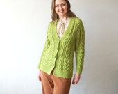 VINTAGE Handknit Cable knit Womens Apple Green Cardigan Button Sweater V Neck Top Knit 70s clothing Preppy Hippie Flower Power Medium Size