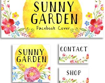 Facebook cover photo set social media header profile pic modern watercolor graphics flowers sunny garden bright colors