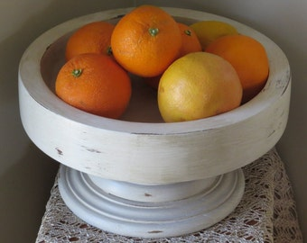 "Shabby White Wood Pedestal Bowl, 11 1/2"", Handpainted White Lightly Distressed, Refurbished"