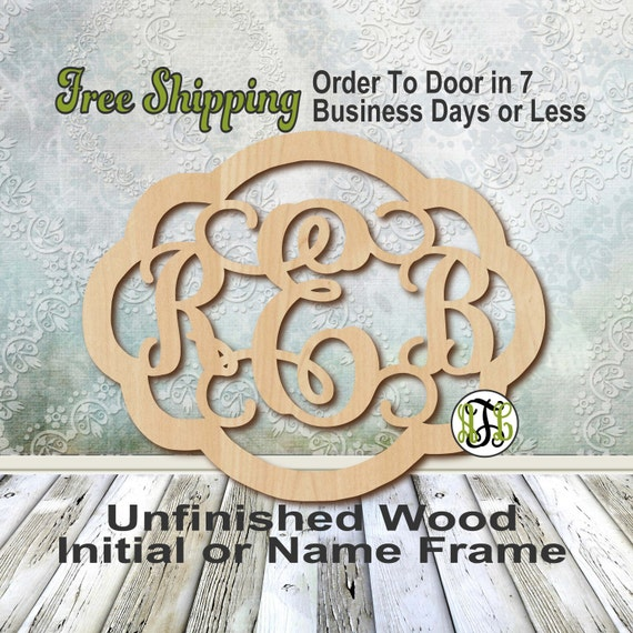 Unfinished Wood Rebecca Frame Monogram, Name, Word, Custom, laser cut wood, wooden cut out, Wedding, Personalized, DIY