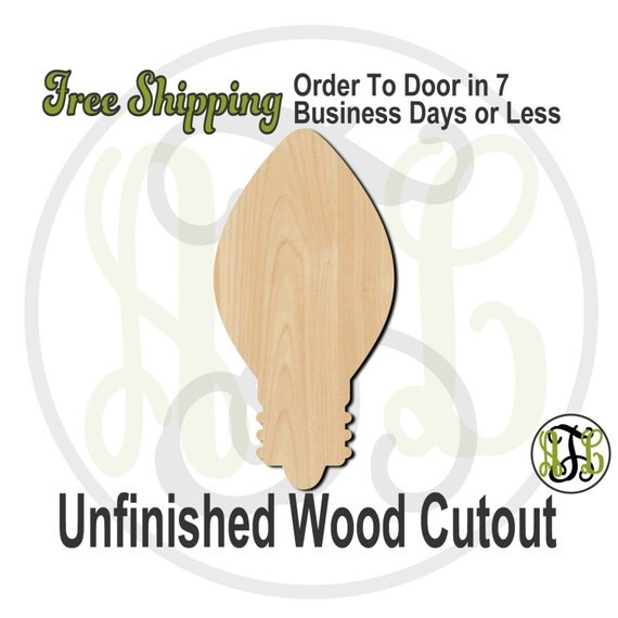 Christmas Light Bulb - 180034- Holiday Cutout, unfinished, wood cutout, wood craft, laser cut shape, wood cut out, Door Hanger, wooden