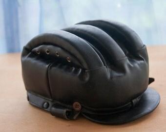 Leather Helmet Black Helmet Motorcycle Helmet Vintage Helmet Leather Bonnet