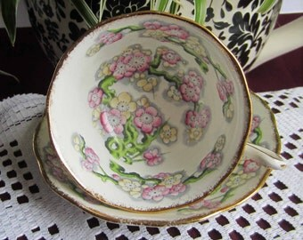 Royal Albert MAY BLOSSOM Wide Mouth Bone China Tea Cup and Saucer - Made in England