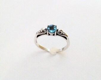 Blue Topaz ring, swiss blue, sterling ring, silver jewelry, gemstone ring, blue ring, blue jewelry, silver ring, blue gem, 2027