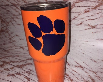 Cup Decal/Yeti Cup MonogramDecals/tiger paw/clemson/Decals sticky decals for hard surfaces/monogram decal