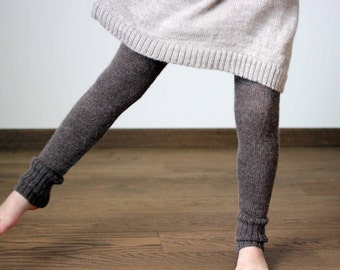 Wool longies for baby, infant, toddler - Alpaca knit brown leggings, knitted children, kids pants -  girl boy trousers