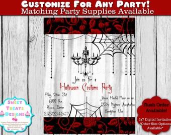 Halloween Invitation, Halloween Party Invitation, Halloween Chandelier Invitation, Antique Halloween Invitation, Halloween Costume Party