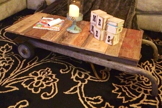 Coffee table, antique dolly, upcycled furniture, handmade furniture, rustic furniture, refurbished firniture, up cycle