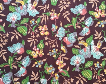 Three Pieces of Vintage Floral Fabric Remnants